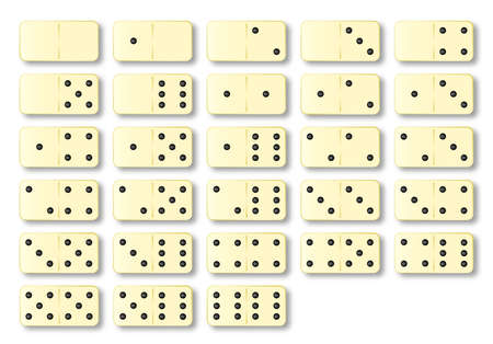 dominoes: A complete set of ivory dominoes over a white background Illustration