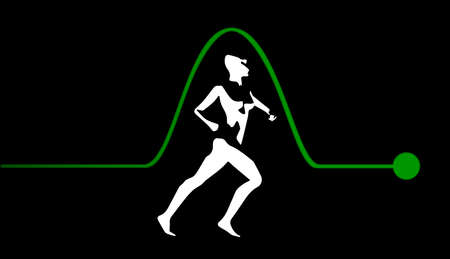 sine wave: A single puls in a sine wave with a jogger inset isolated on a black background Illustration