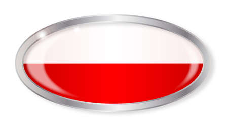 polish flag: Oval silver button with the Polish flag isolated on a white background Illustration