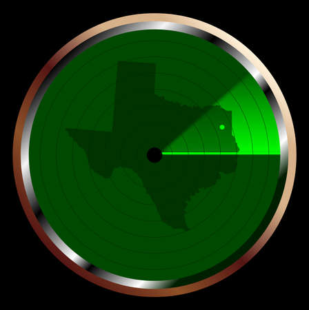 The screen of a typical radar device in green sweeping over Texas