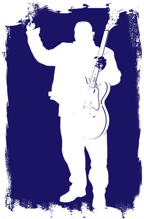 guitariste rock: Silhouette of a heavy rock guitarist giving a hands up sign Illustration
