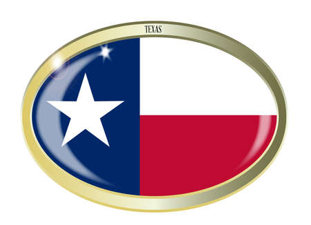 texan: Oval metal button with the Texan flag isolated on a white background