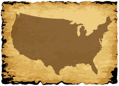 coastline: A parchment background with silhouette of the United States of America