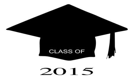 legend: A cap with the legend Class of 2015 over a white background