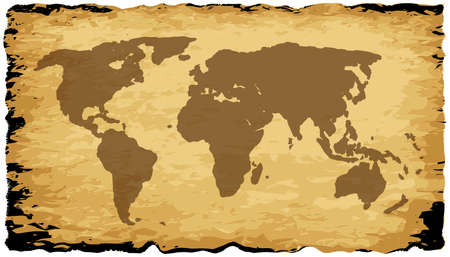 coastline: A parchment background with silhouette of the world map