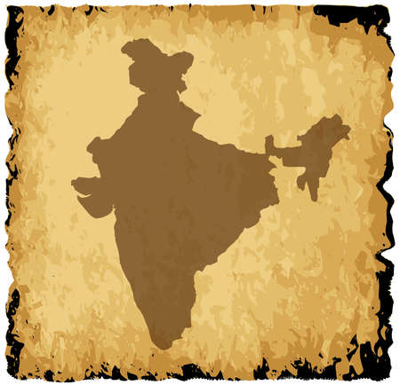 coastline: A parchment background with silhouette of India
