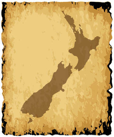old and new: A parchment background with silhouette of New Zealand
