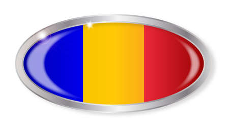 romanian: Oval silver button with the Romanian flag isolated on a white background