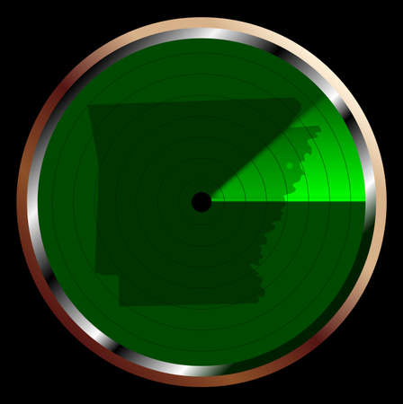 blip: The screen of a typical radar device in green sweeping over Arkansas Illustration