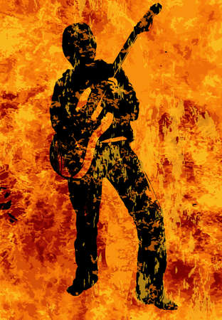 hades: A rock and roll guitarist walking through the fires of Hell