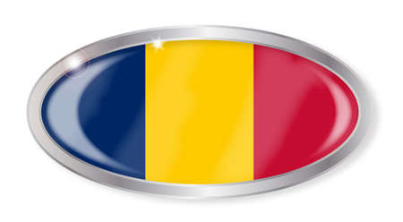 chad flag: Oval silver button with the Chad flag isolated on a white background Illustration