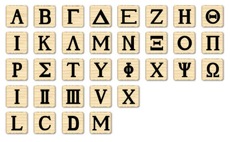 grecian: The letters of the Greek alphabet with numbers on wooden squares Illustration