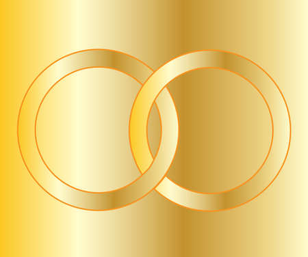 wedding bands: A pair of gold wedding bands over a golden background