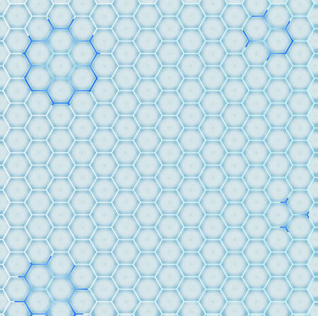conformity: A cold blue honeycomb with a reblue glow in placesd glowing backdrop