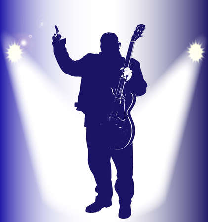 guitariste rock: Silhouette of a heavy rock guitarist under the spotlights giving a hands up sign Illustration
