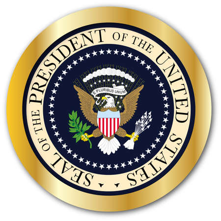 A depiction of the seal of the president of the United States of America as a button