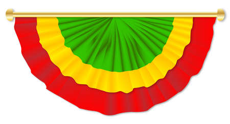 gree: Red yellow green bunting over a white background