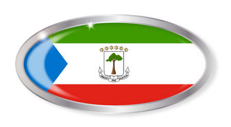 equatorial guinea: Oval silver button with the Equatorial Guinea flag isolated on a white background