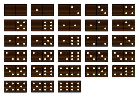 dominoes: A complete set of black wooden dominoes over a white background