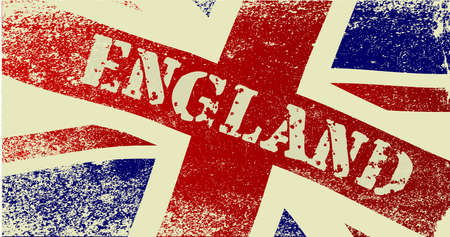 red flag up: A faded British Union  Jack  flag fluttering with the text England Illustration
