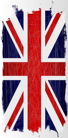 grunge union jack: The Union Jack flag of Great Britain hanging with grunge Illustration