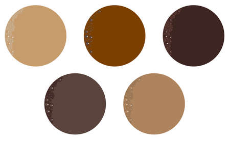 hot drink: A collection of five typical hot drink shades with bubbles