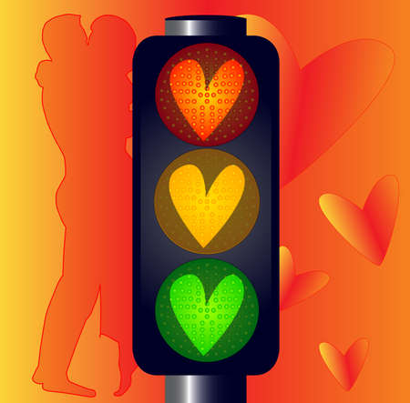 Traffic lights with hearts over a lovers background