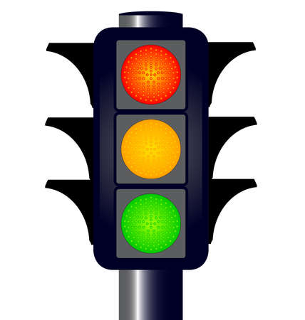 amber: Traffic lights with hoods over the red green and amber lights