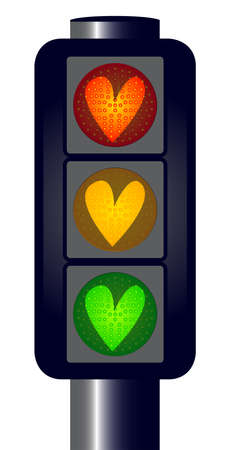 light emitting diode: Traffic lights with red amber and green hearts  over a white background