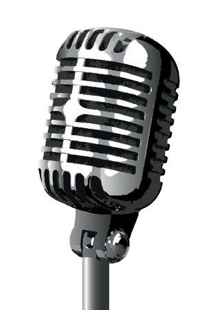 the vocalist: A stage microphone isolated over a white background