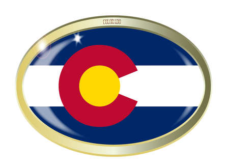 colorado flag: Oval metal button with the Colorado flag isolated on a white background