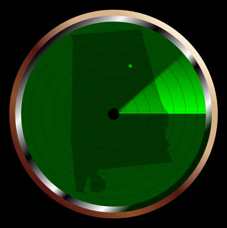 blip: The screen of a typical radar device in green sweeping over Alabama