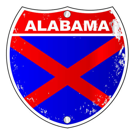 alabama flag: Alabama interstate sign with flag cross over a white background