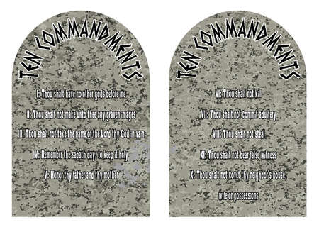 ten: The two stones containing the ten commandments