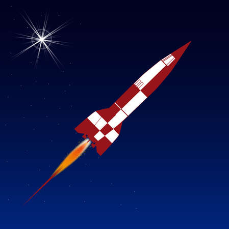 launched: Space rocket over a star clustered background