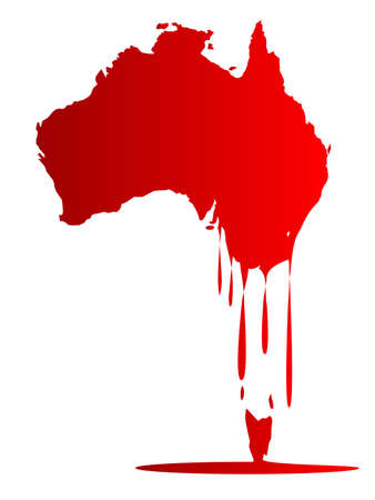 meltdown: Silhouette map of Australia melting into a red puddle of wax