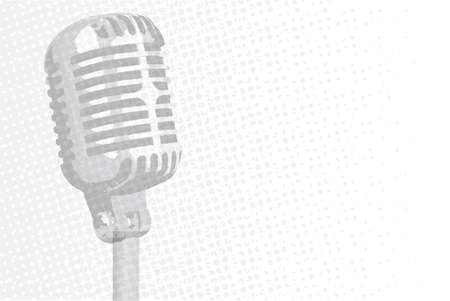 voices: Silver stage microphone with halftone grey background