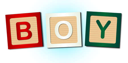 block letters: A collection of wooden block letters spelling the word boy