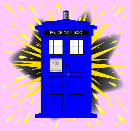 bobby: A typical british police box over a cartoon style explosion