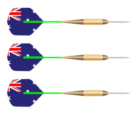 oz: A collection of three playing darts with Australian flag motif all over white