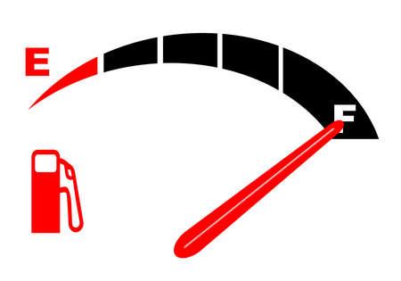 fuel gauge: An automobile fuel gauge showing full Illustration