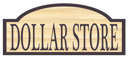 floorboards: Dollar store stylish wooden store sign over a white background Illustration