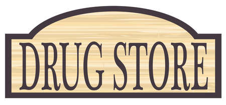 woodgrain: Drug store stylish wooden store sign over a white background