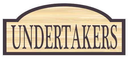 Undertakers store stylish wooden store sign over a white background