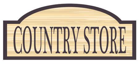 Country store stylish wooden store sign over a white background Illustration