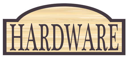 Hardware store stylish wooden store sign over a white background