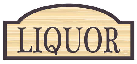 the name of the drug: Liquor store stylish wooden store sign over a white background Illustration