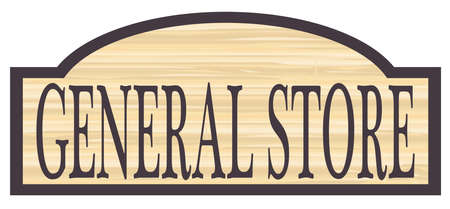 store sign: General store stylish wooden store sign over a white background
