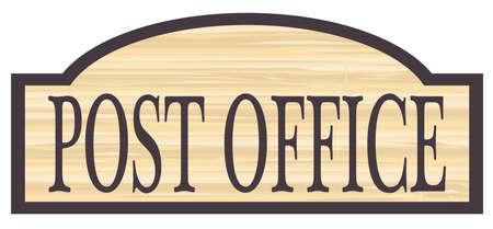 Poczta przechowywać stylowe drewniane sklep znak nad białym tle Ilustracje wektorowe