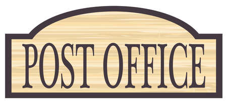 Post Office store stylish wooden store sign over a white background